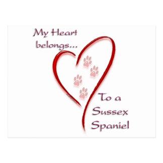 Cartão Postal O coração do Spaniel de Sussex pertence