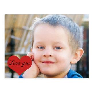 """Cartão Postal O coração vermelho diz o """"amor você"""" transferência"""