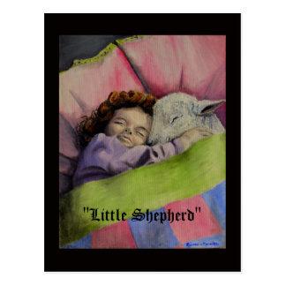 """Cartão Postal """"O cordeiro do pastor pequeno"""" do deus com menina"""
