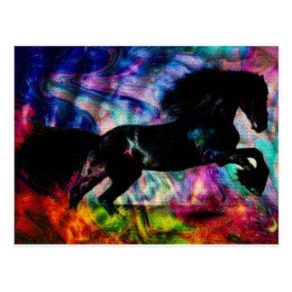 Cartão Postal O corredor preto do cavalo abstrai embora o fogo
