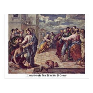 Cartão Postal O cristo cura as cortinas por El Greco