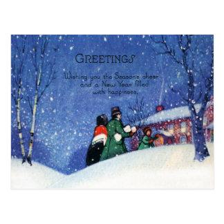 Cartão Postal O cumprimento do Natal do Victorian do vintage