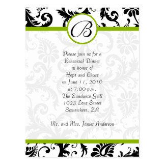 Cartão Postal O damasco verde-maçã & preto roda jantar de ensaio