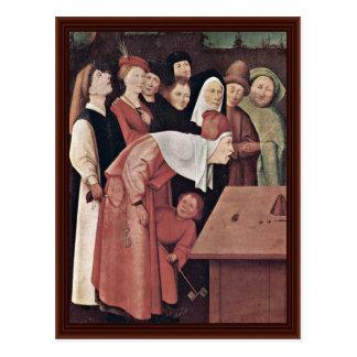 Cartão Postal O detalhe do Conjurer. Por Hieronymus Bosch