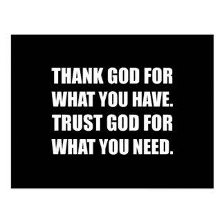 Cartão Postal O deus do obrigado para tem a necessidade da