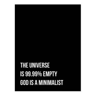 Cartão Postal O deus é um minimalista