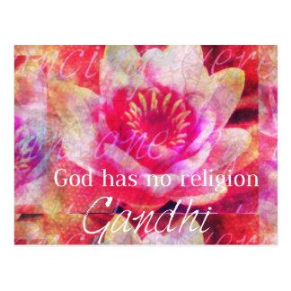 Cartão Postal O deus não tem nenhuma religião - citações de