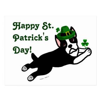 Cartão Postal O dia Boston Terrier de St Patrick