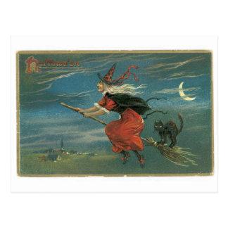 Cartão Postal O Dia das Bruxas antiquado, bruxa com gato preto