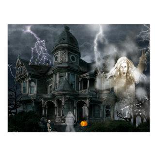 Cartão Postal O Dia das Bruxas assombrou a casa sai quando você
