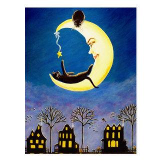Cartão Postal O Dia das Bruxas, cartão, preto, gato, Salem,