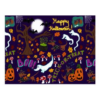 Cartão Postal O Dia das Bruxas do Dachshund da diva