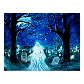 Cartão Postal O Dia das Bruxas, fantasma, cemitério, lápides,