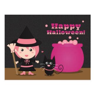 Cartão Postal O Dia das Bruxas feliz, bruxa cor-de-rosa bonito e