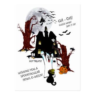 Cartão Postal O Dia das Bruxas - Uh oh suposição que dia é
