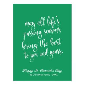 Cartão Postal O dia de St Patrick de bênção irlandês velho verde