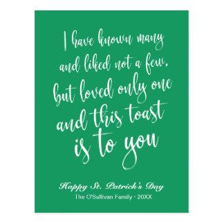Cartão Postal O dia de St Patrick irlandês verde e branco do