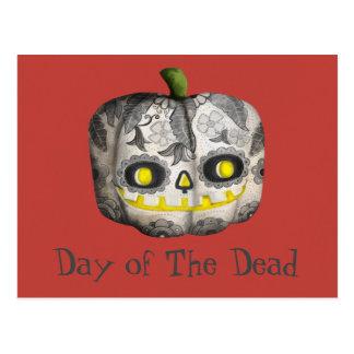 Cartão Postal O dia do crânio inoperante do açúcar da abóbora