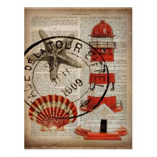 Cartão Postal o dicionário imprime o farol litoral do seashell