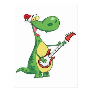 Cartão Postal O dinossauro joga a guitarra com chapéu do papai