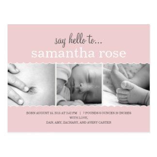 Cartão Postal O doce Scallops o anúncio do nascimento - bebé