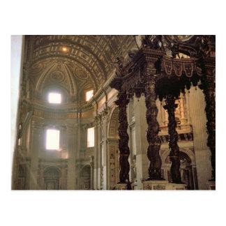 Cartão Postal O dossel de Bernini, a basílica de St Peter