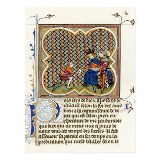 Cartão Postal O Epistle de St Paul medieval da iluminação
