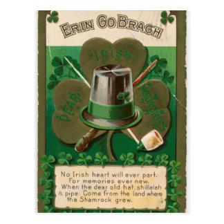 Cartão Postal O erin do trevo do dia de VintageSaint Patrick vai