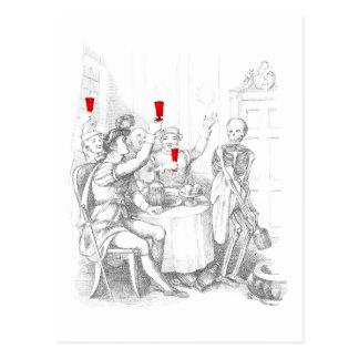Cartão Postal O esqueleto abre uma garrafa dos espírito
