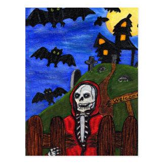 Cartão Postal O esqueleto do Ceifador golpeia o cemitério
