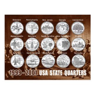 Cartão Postal O estado dos EUA divide (moedas) 1999 - 2001