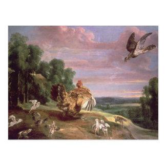 Cartão Postal O falcão e a galinha