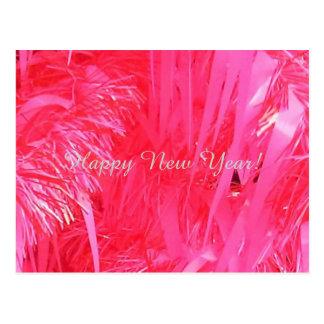 Cartão Postal O feliz ano novo cor-de-rosa da árvore de Natal,