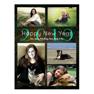 Cartão Postal O feliz ano novo verde de néon da colagem da foto