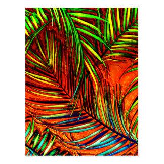 Cartão Postal O fogo em folha de palmeira da selva da arte edita