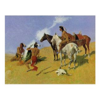 Cartão Postal O ~ Frederic Remington do sinal de fumo
