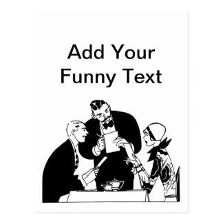 Cartão Postal O garçom - humor do restaurante