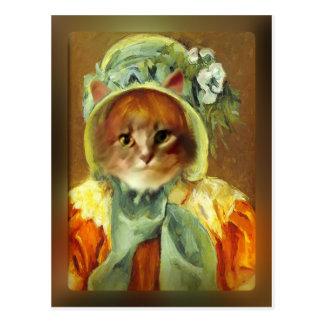 Cartão Postal O gato de Mary Cassatt na capota