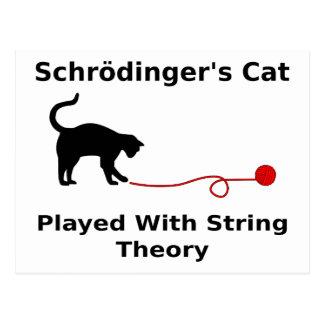 Cartão Postal O gato de Schrödinger jogado com teoria da corda