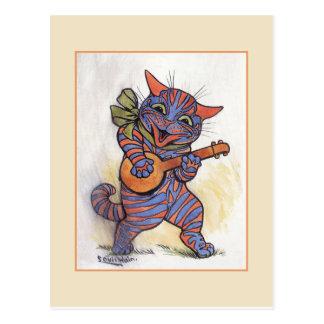 Cartão Postal O gato joga o banjo