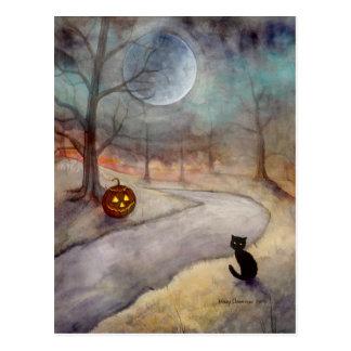 Cartão Postal O gato preto e a abóbora esquecidos do Dia das