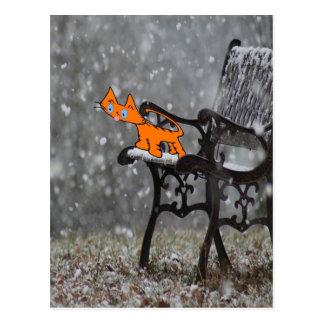 Cartão Postal O gato trava os flocos O da neve seu Tong