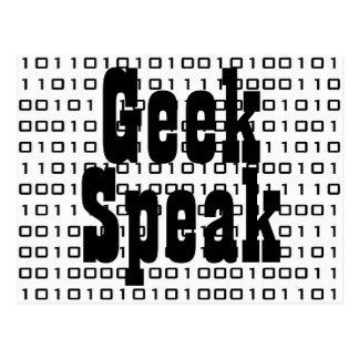 Cartão Postal O geek, fala