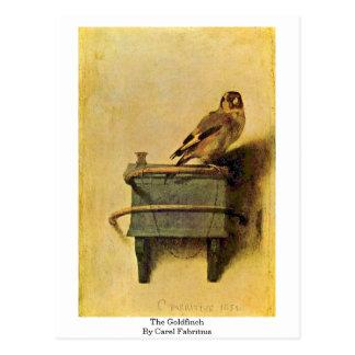 Cartão Postal O Goldfinch. Por Carel Fabritius