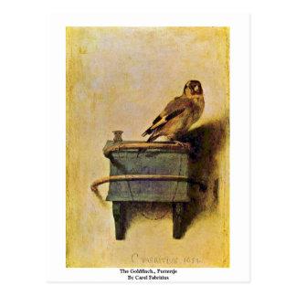 Cartão Postal O Goldfinch., Puttertje por Carel Fabritius