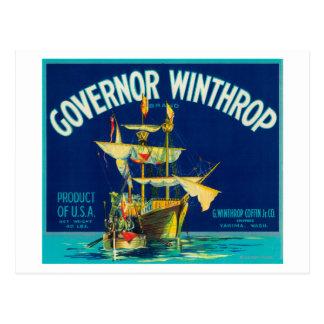 Cartão Postal O governador Winthrop Apple etiqueta (azul) -