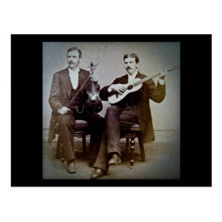 Cartão Postal O guitarrista e o vintage do violinista