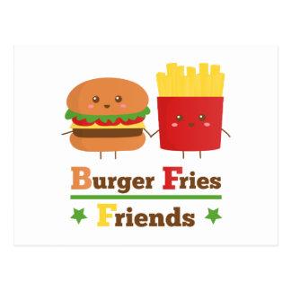 Cartão Postal O hamburguer dos desenhos animados de Kawaii frita