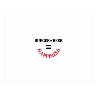 Cartão Postal O hamburguer mais a cerveja iguala a felicidade