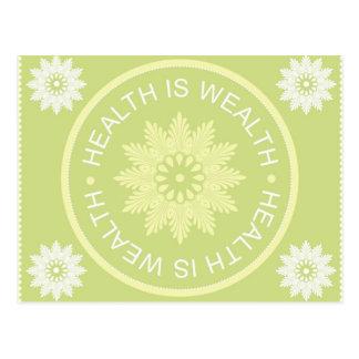 Cartão Postal O ~Health de três citações da palavra é Wealth~